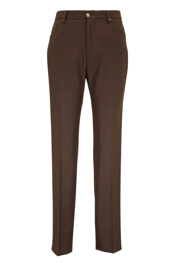 Incotex Moss Brown Wool & Cashmere Five Pocket Pant