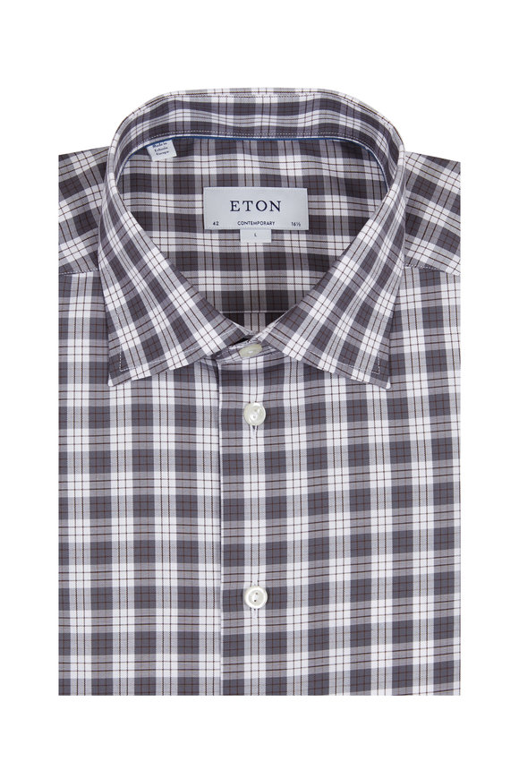 Eton Gray & White Check Contemporary Fit Sport Shirt