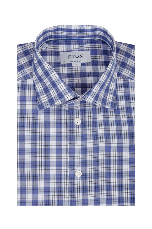 Eton Blue & White Check Contemporary Fit Sport Shirt