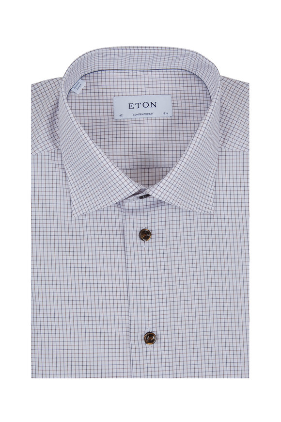 Eton Brown & White Check Contemporary Fit Sport Shirt