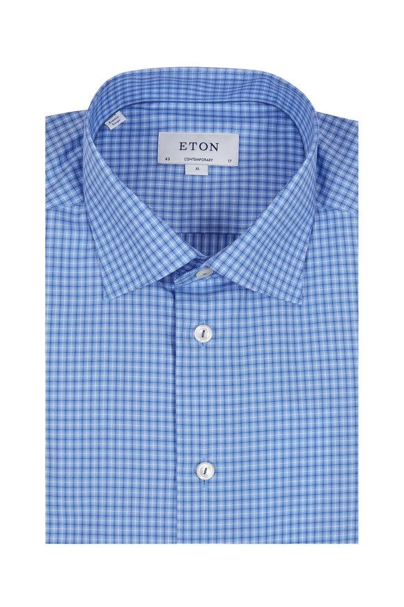 Eton Blue Check Contemporary Fit Sport Shirt