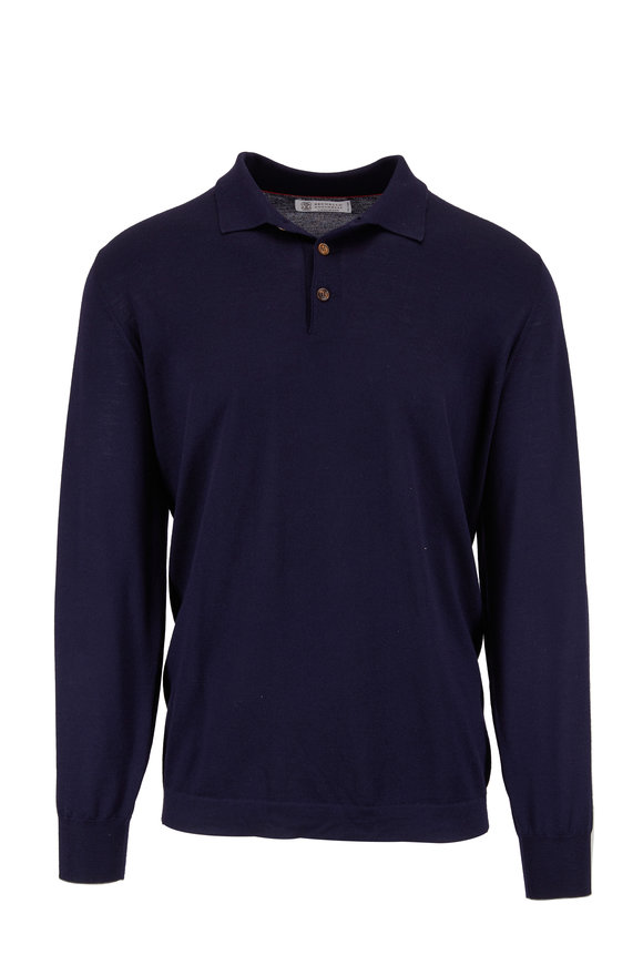 Brunello Cucinelli Navy Blue Wool & Cashmere Polo Sweater