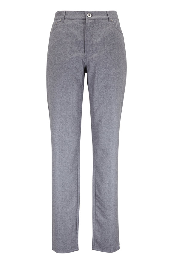 Brunello Cucinelli Gray Wool Flannel Five Pocket Pant