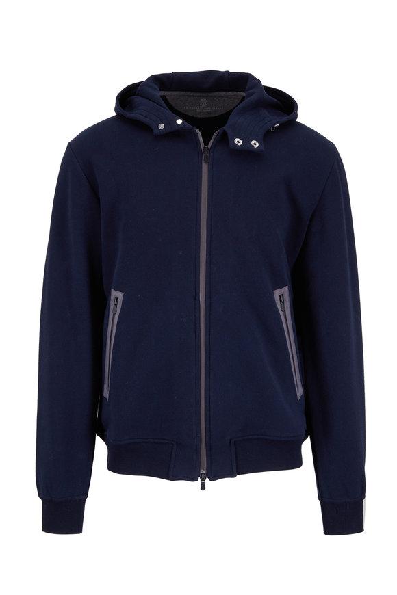 Brunello Cucinelli Navy Blue Cotton Zip Hoodie