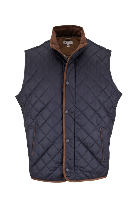 Peter Millar Essex Black Nylon Quilted Vest