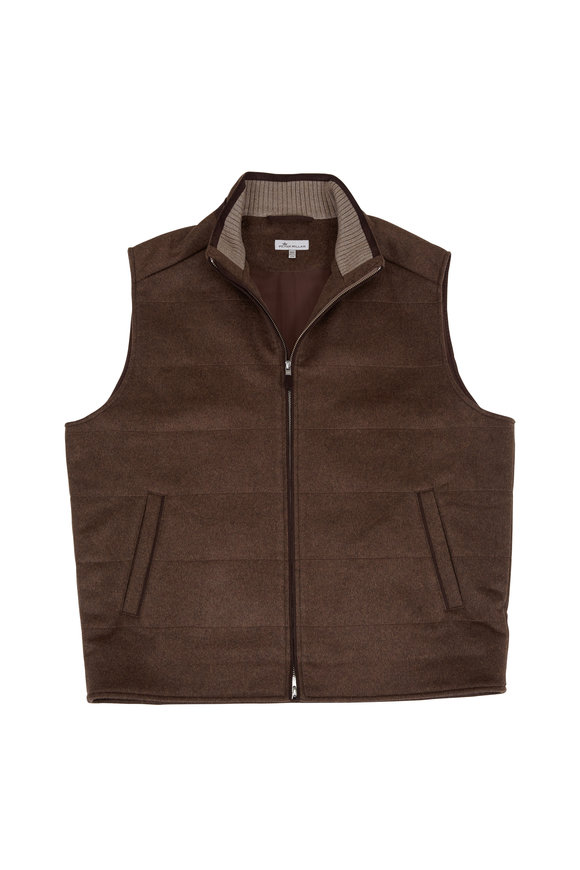 Peter Millar Darien Branch Brown Wool & Cashmere Quilted Vest