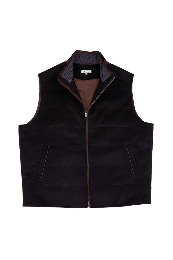 Peter Millar Darien Black Wool & Cashmere Quilted Vest
