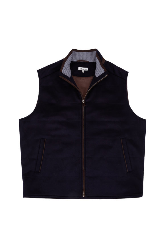 Peter Millar Navy Blue Wool & Cashmere Quilted Vest
