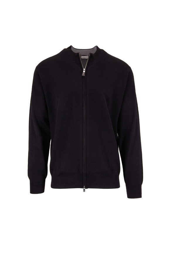 Peter Millar Black Plaited Cashmere Zip Cardigan