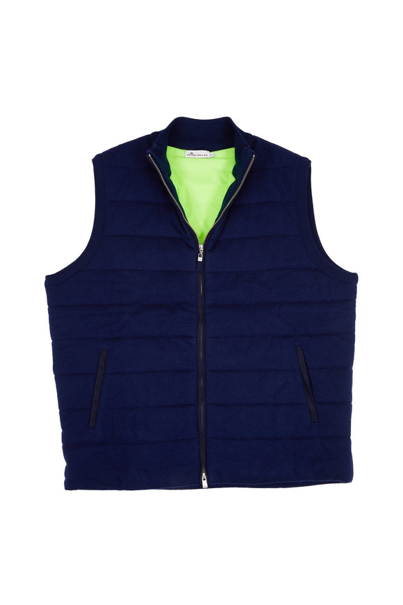 Peter Millar Seaboard Navy Blue Wool Quilted Vest