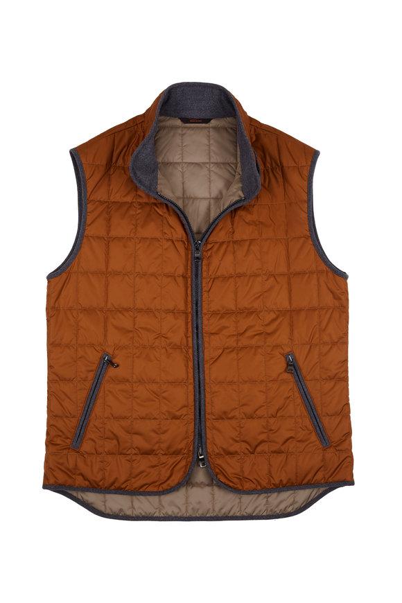 Waterville Theo Burnt Orange Nylon Diamond Quilted Vest