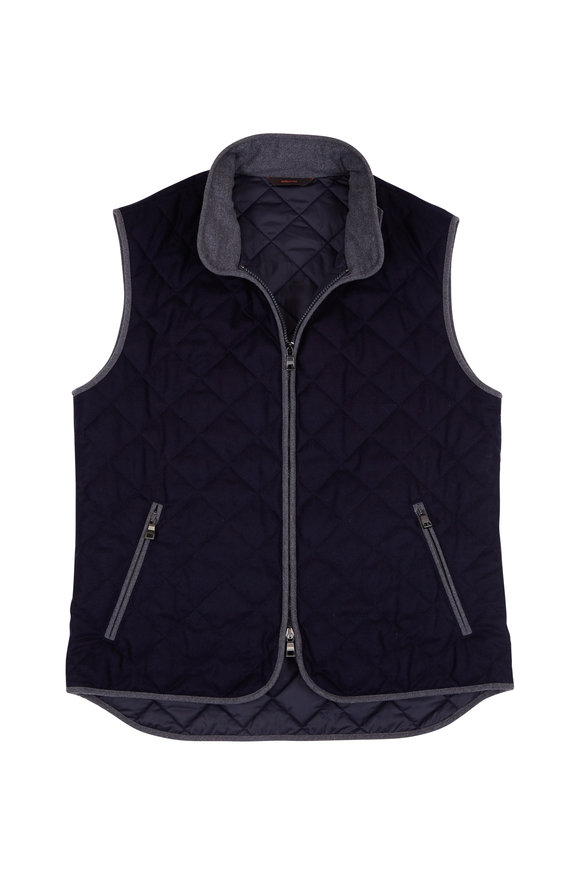 Waterville Theo Navy Blue Wool Diamond Quilted Vest