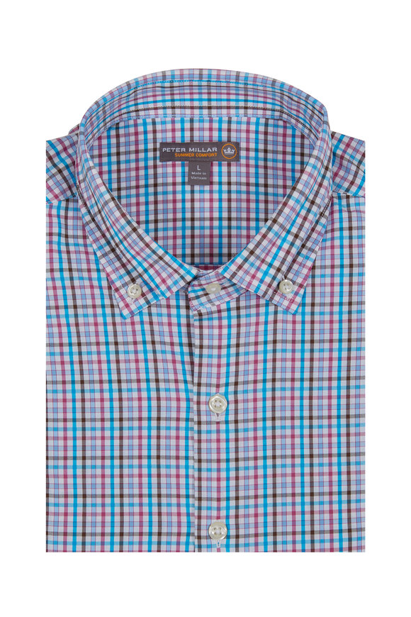 Peter Millar Post Performance White & Blue Check Sport Shirt