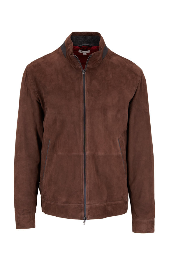 Peter Millar Canopy Brown Suede Countryside Bomber Jacket