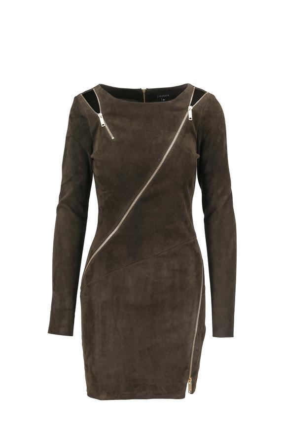 Jitrois Zipi Moss Green Stretch Suede Mini Dress