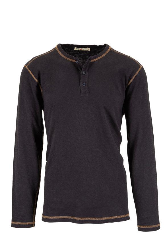 Agave Black Cotton Long Sleeve Henley