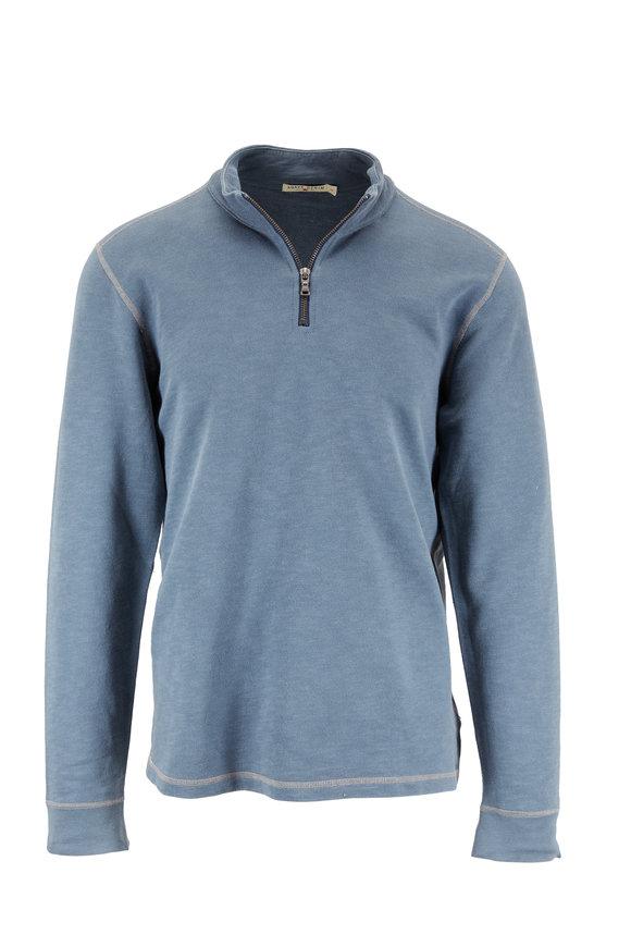 Agave Slate Blue Cotton Quarter-Zip Pullover