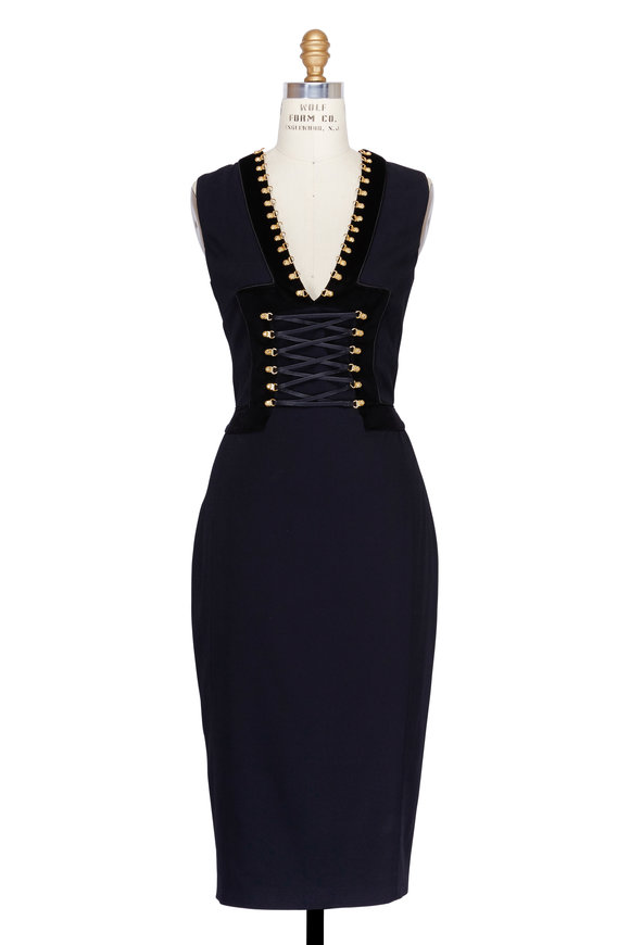 Altuzarra Adriana Black Corset Waist Sleeveless Dress