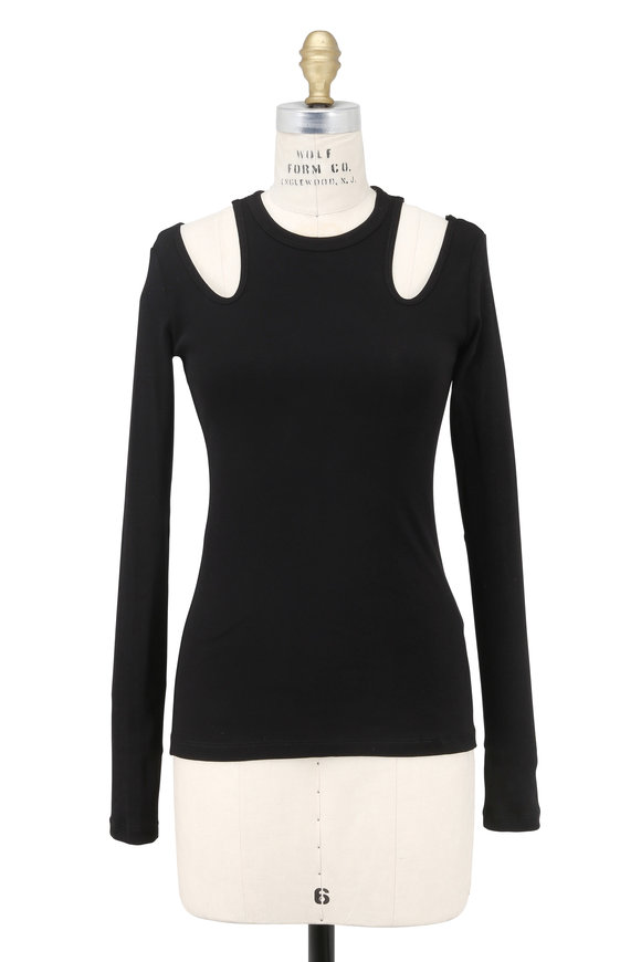 Rosetta Getty Black Long Sleeve Cut-Out Top