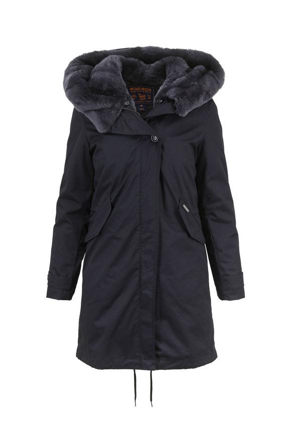 Woolrich Black Literary Rex Eskimo Coat With Fur Hood