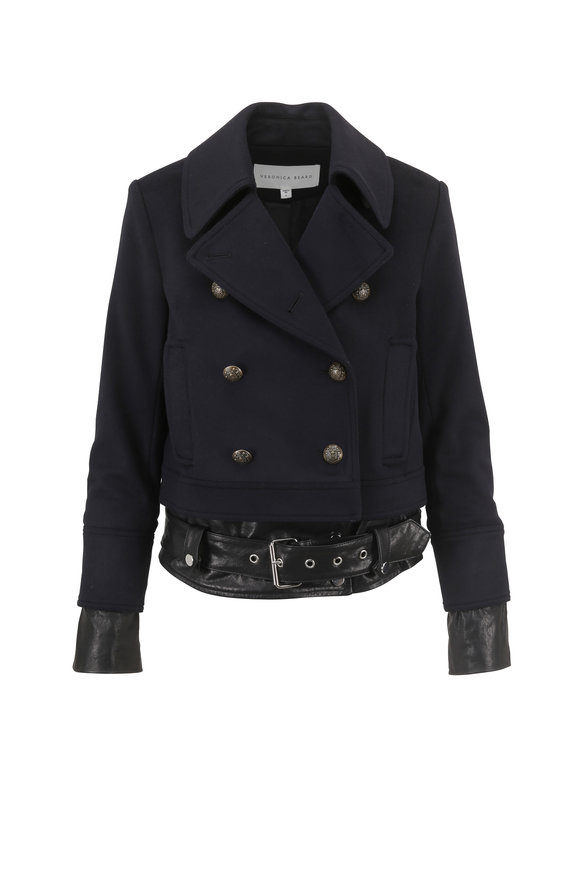 Veronica Beard Yara Dark Navy Leather Hem Pea Coat