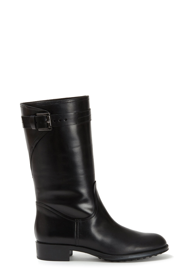Black Leather Moto Boot