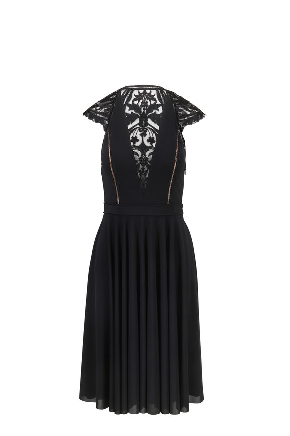 Catherine Deane Josie Black Lace Cap Sleeve Cocktail Dress