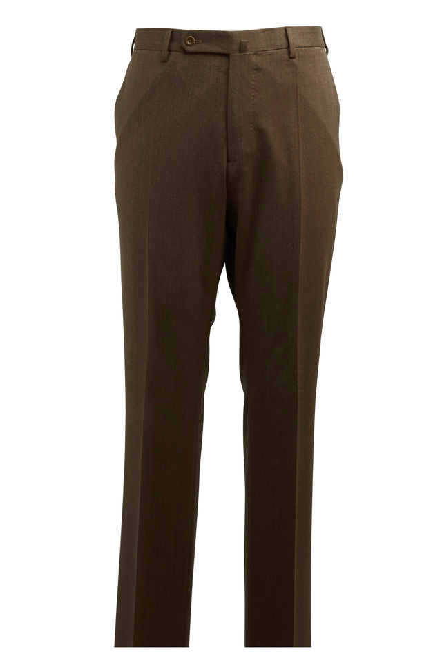 Benson Dark Tan Stretch Wool Trousers