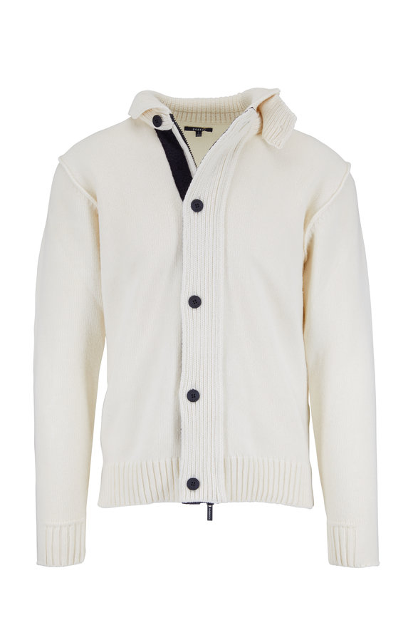 04651 Ivory Wool Button Cardigan