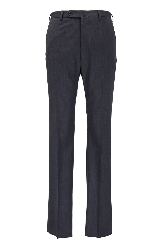 Benson Charcoal Gray Stretch Wool Dress Trousers