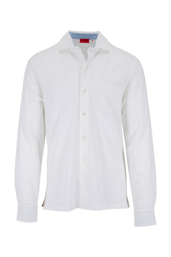 Isaia Bright White Knit Sport Shirt