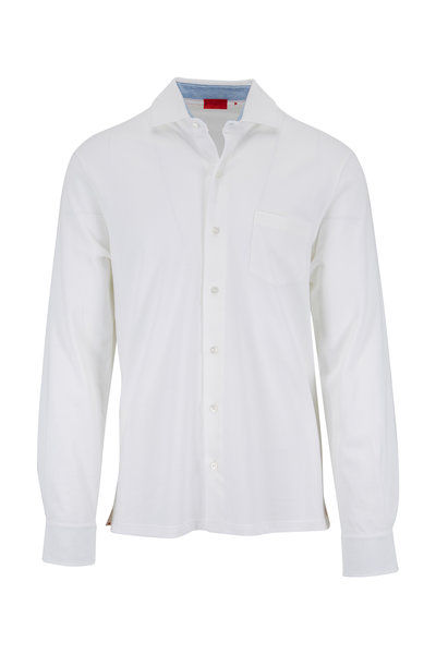 Isaia - Bright White Knit Sport Shirt