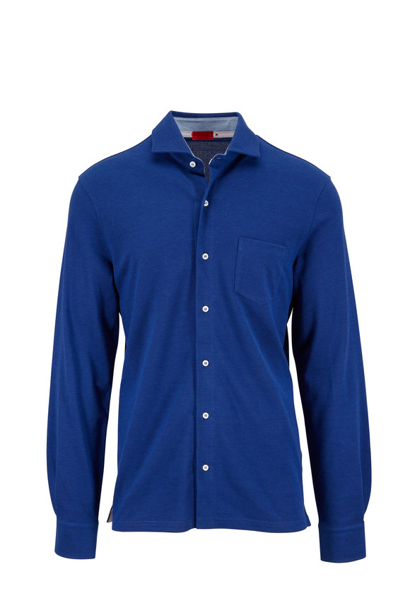 Isaia Navy Blue Knit Sport Shirt