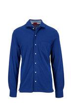 Isaia - Navy Blue Knit Sport Shirt