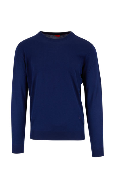 Isaia - Navy Merino Wool Crewneck Sweater