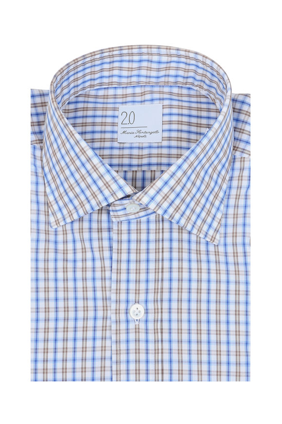 Maria Santangelo Blue & Brown Check Dress Shirt