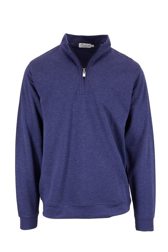 Peter Millar Navy Blue Interlock Quarter-Zip Pullover
