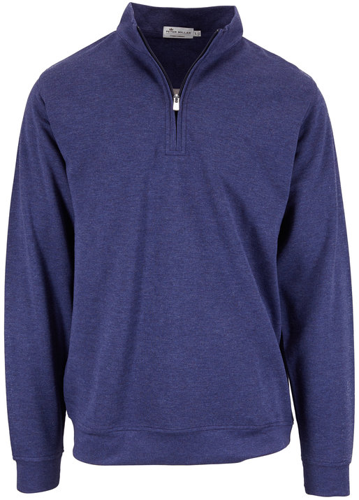 Peter Millar Navy Blue Interlock Quarter-Zip Pullover