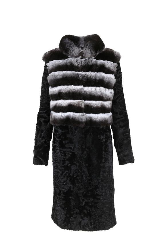 Oscar de la Renta Furs Black Pearl Chinchilla & Persian Lamb Coat