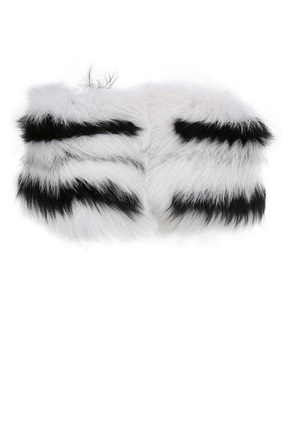Oscar de la Renta Furs Artic Marble & Silver Fox Graphic Intarsia Stole