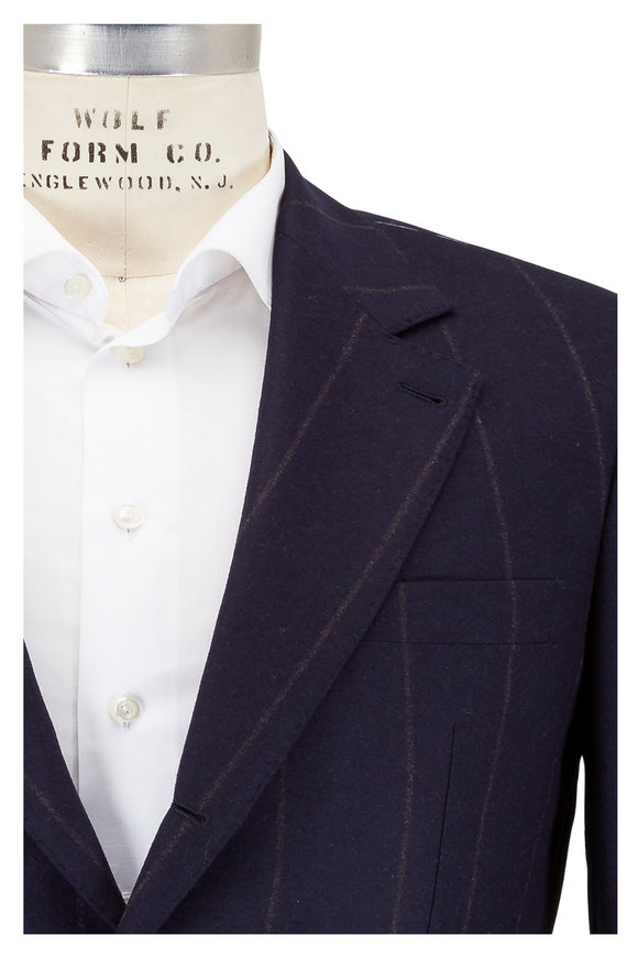 Brunello Cucinelli Navy Blue & Brown Striped Wool Suit