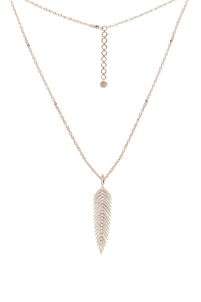 Sutra - 18K Rose Gold Diamond Feather Pendant Necklace