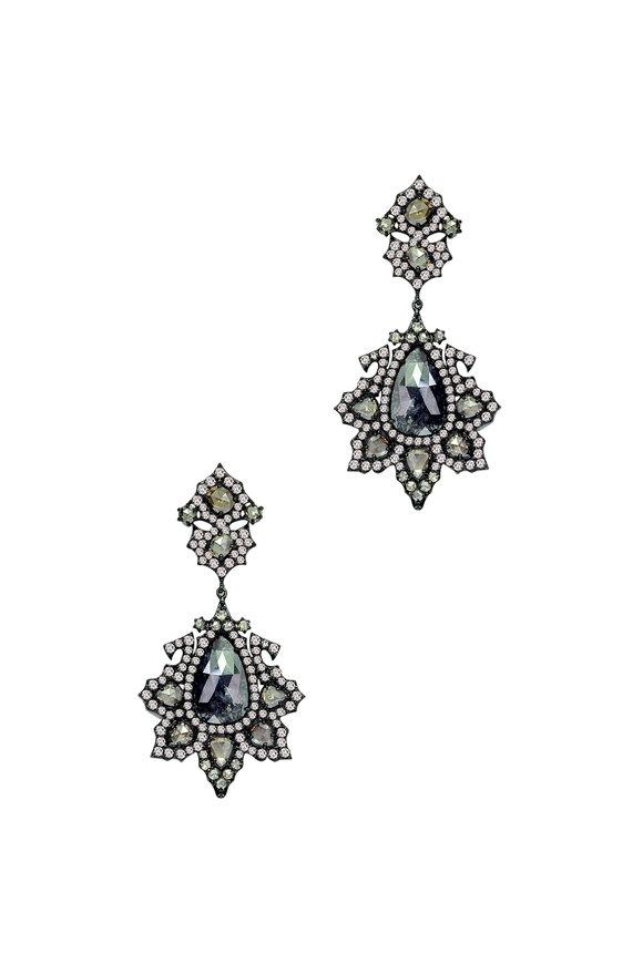 Sutra 18K White Gold Rough Diamond Flower Earrings