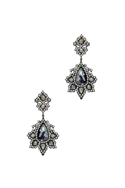 Sutra - 18K White Gold Rough Diamond Flower Earrings