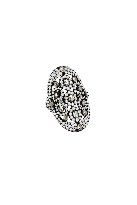 Sutra 18K Blackened White Gold Diamond Ring