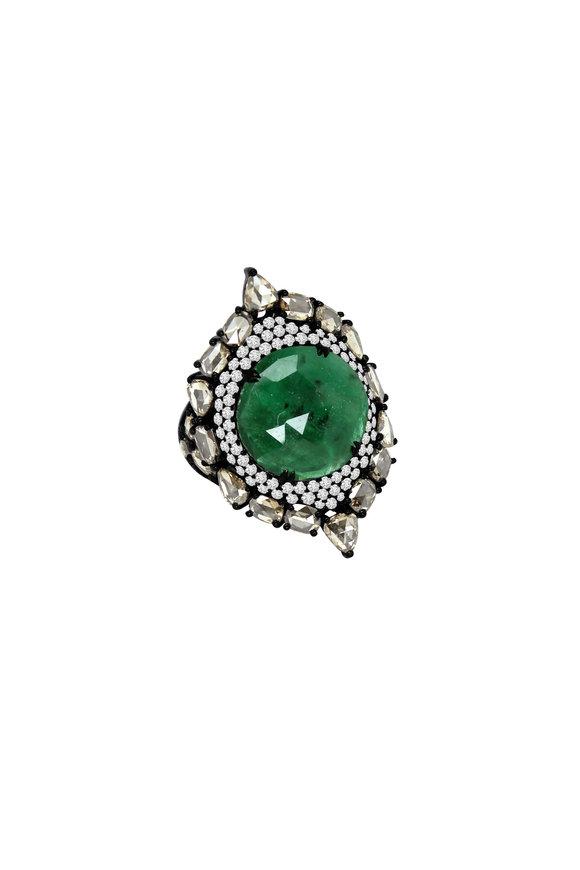Sutra Black Emerald & Diamond Ring