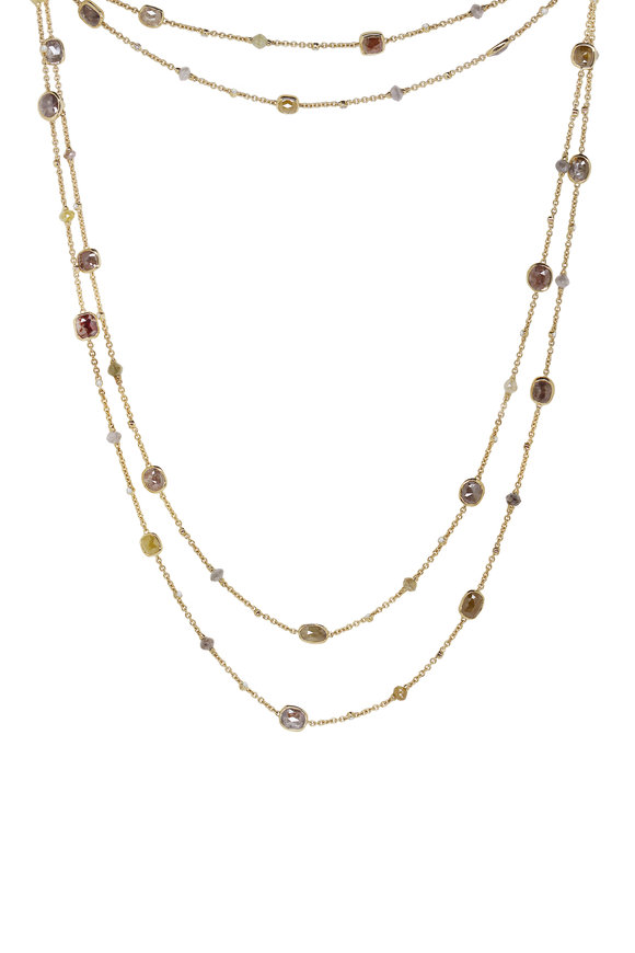 Sutra 18K Yellow Gold Diamond Beaded Necklace