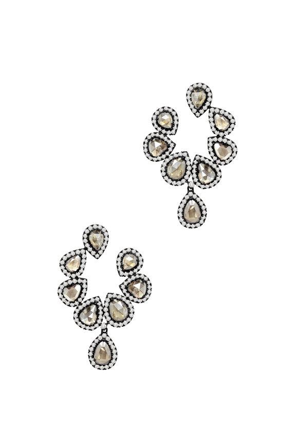 Sutra 18K Blackened White Gold Diamond Cluster Earrings