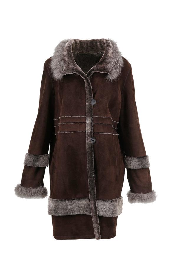 Viktoria Stass Brown Brisa Shearling & Cashmere Coat