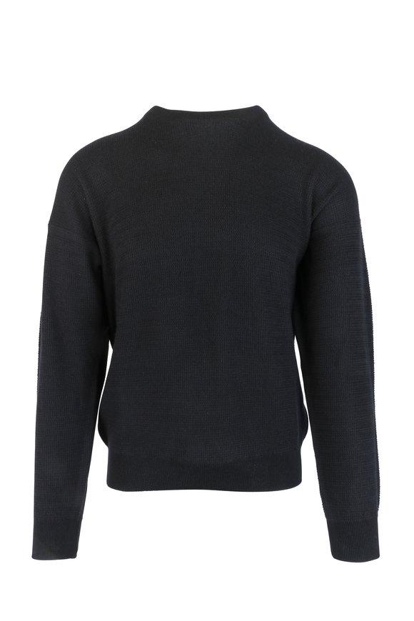 Brioni Black Cashmere & Silk Crewneck Sweater